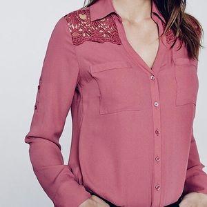 NWT Express Slim Fit Lace Detail Portofino Shirt M
